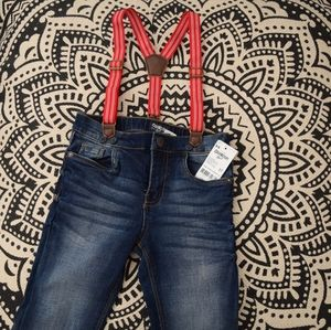 NWT jeans & suspenders